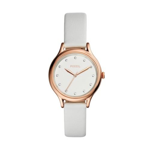 Fossil Laney Three-Hand White Leather Watch BQ3354