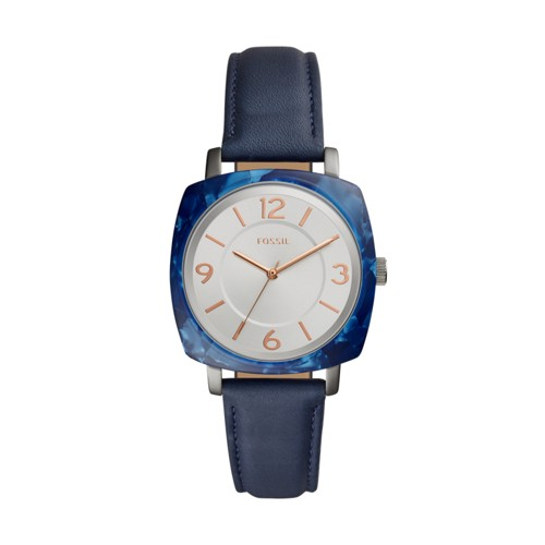 Fossil Blakely Three-Hand Blue Leather Watch BQ3361