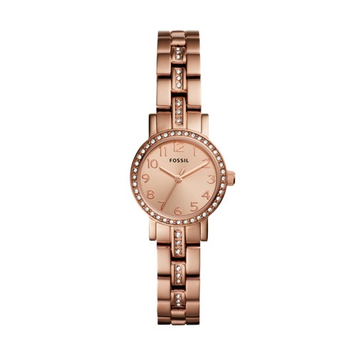 Fossil Shae Mini Three-Hand Stainless Rose Gold-Tone Steel Watch BQ3371