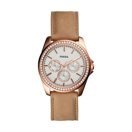 Fossil Janice Multifunction Tan Leather Watch BQ3382