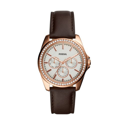 Fossil Janice Multifunction Brown Leather Watch BQ3383