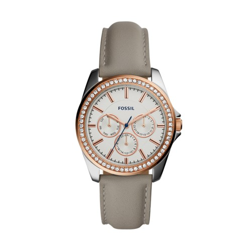 Fossil Janice Multifunction Gray Leather Watch BQ3384