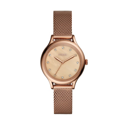 Fossil Laney Three-Hand Rose Gold-Tone Stainless Steel Watch BQ3392