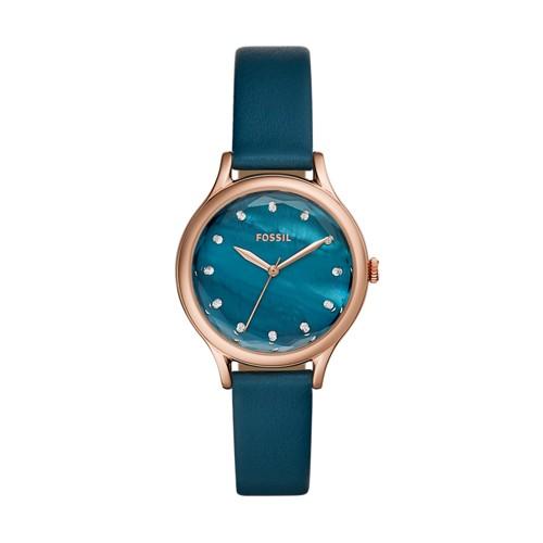 Fossil Laney Three-Hand Blue Leather Watch BQ3400