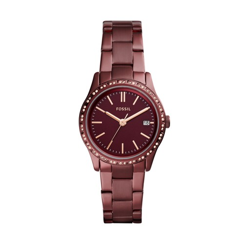 Fossil Adalyn Three-Hand Date Wine Stainless Steel Watch BQ3409