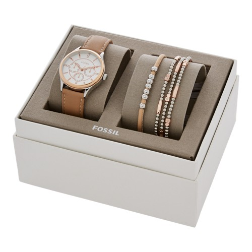 Modern Sophisticate Multifunction Tan Leather Watch And Jewelry Gift Set BQ3417SET