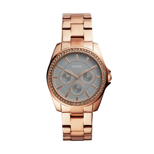 fossil Janice Multifunction Rose Gold-Tone Stainless Steel Watch BQ3418