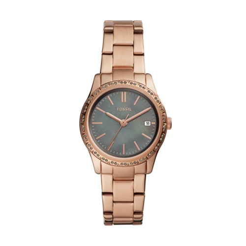 fossil Adalyn Three-Hand Date Rose Gold-Tone Stainless Steel Watch BQ3421