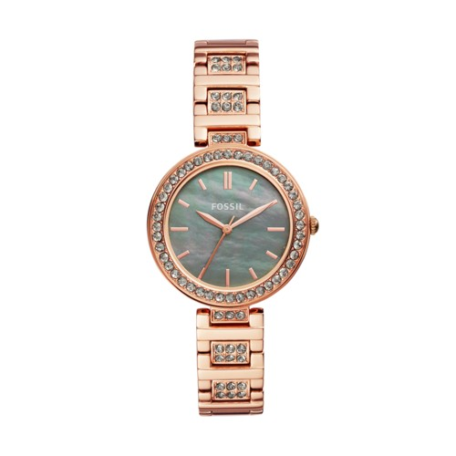 fossil Karli Three-Hand Rose Gold-Tone Stainless Steel Watch BQ3422
