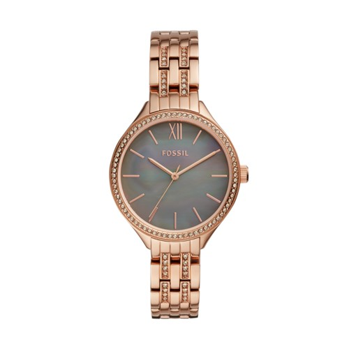 fossil Suitor Three-Hand Rose Gold-Tone Stainless Steel Watch BQ3423