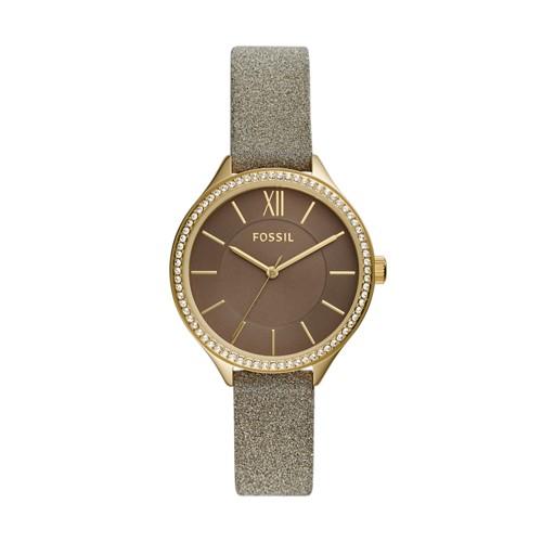fossil Suitor Three-Hand Gold-Tone Polyurethane Watch BQ3426