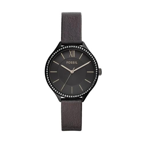 fossil Suitor Three-Hand Black Polyurethane Watch BQ3427