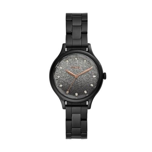 fossil Laney Three-Hand Black Stainless Steel Watch BQ3432