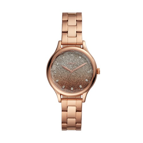 fossil Laney Three-Hand Rose Gold-Tone Stainless Steel Watch BQ3433