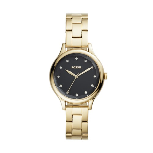fossil Laney Three-Hand Gold-Tone Stainless Steel Watch BQ3434