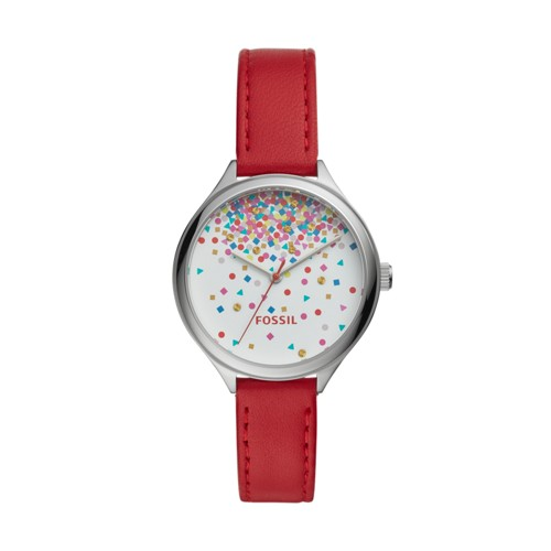fossil Suitor Three-Hand Red Leather Watch BQ3435