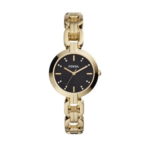 fossil Kerrigan Three-Hand Gold-Tone Stainless Steel Watch BQ3436