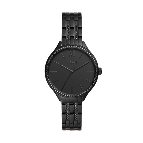 fossil Suitor Three-Hand Black Stainless Steel Watch BQ3438