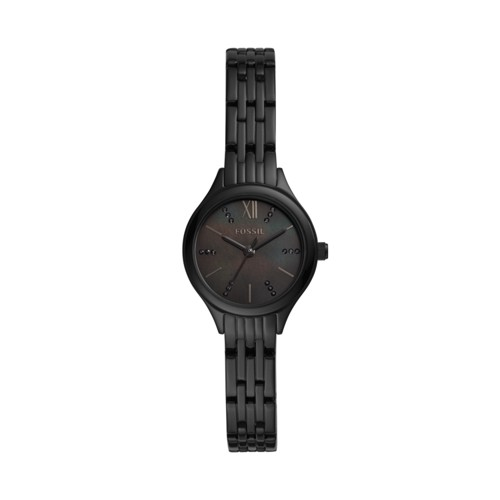 fossil Suitor Mini Three-Hand Black Stainless Steel Watch BQ3439