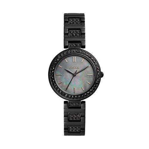 fossil Karli Three-Hand Black Stainless Steel Watch BQ3440