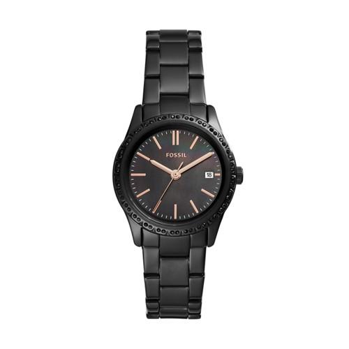fossil Adalyn Three-Hand Date Black Stainless Steel Watch BQ3441