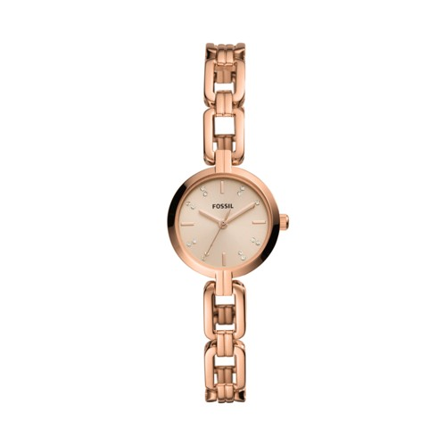 fossil Kerrigan Mini Three-Hand Rose Gold-Tone Stainless Steel Watch BQ3443