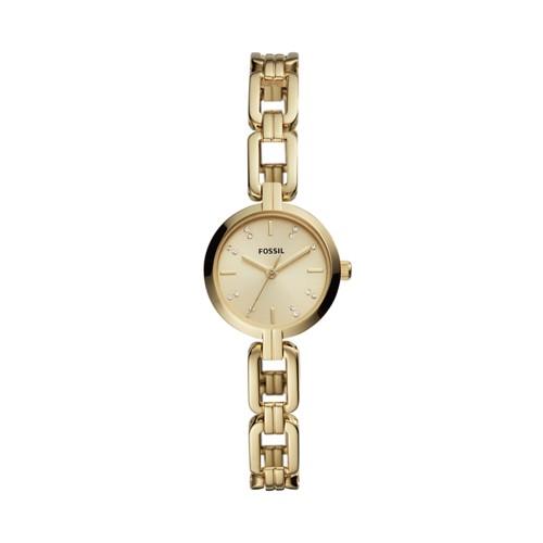 fossil Kerrigan Mini Three-Hand Gold-Tone Stainless Steel Watch BQ3444