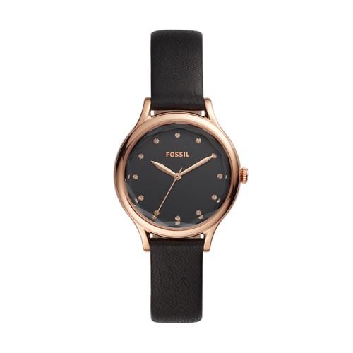 fossil Laney Three-Hand Black Leather Watch BQ3446