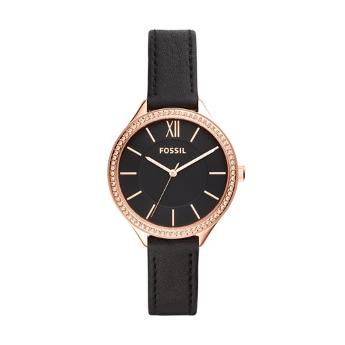 fossil Suitor Three-Hand Black Leather Watch BQ3447
