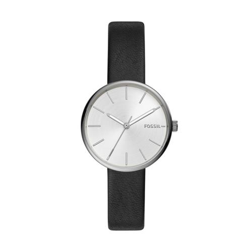 fossil Hutton Three-Hand Black Leather Watch BQ3461