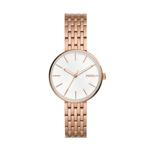 fossil Hutton Three-Hand Rose Gold-Tone Stainless Steel Watch BQ3463