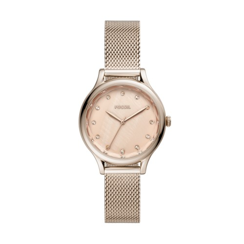 fossil Laney Three-Hand Pastel Pink Stainless Steel Watch BQ3466