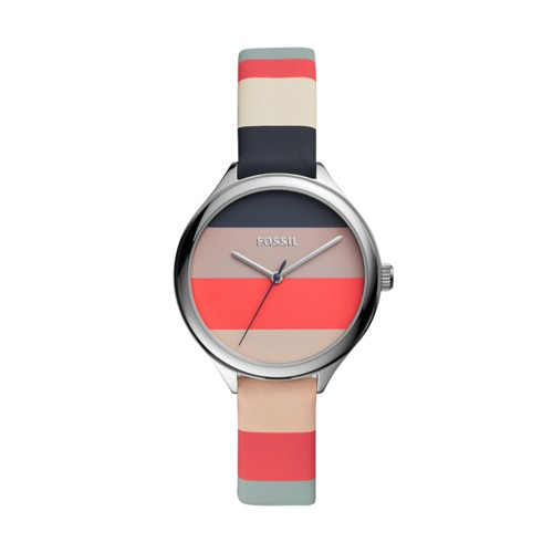 fossil Suitor Three-Hand Multi-Colored Leather Watch BQ3473