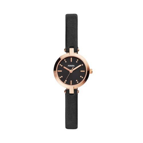 fossil Kerrigan Mini Three-Hand Black Leather Watch BQ3478