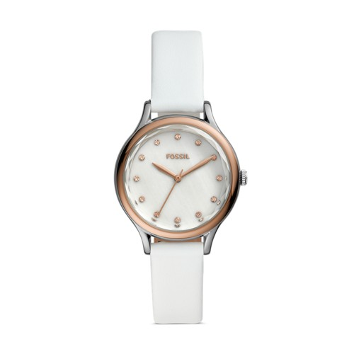 fossil Laney Three-Hand White Leather Watch BQ3484