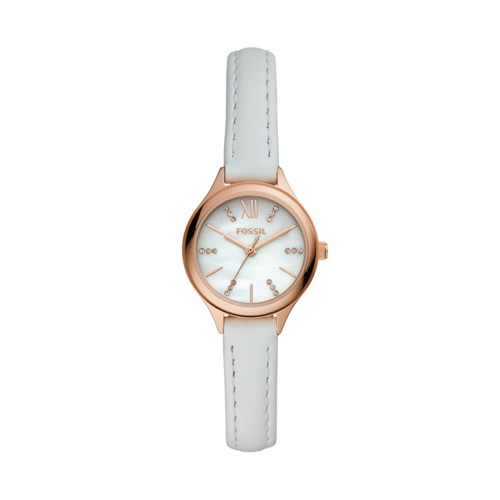 Suitor Mini Three-Hand White Leather Watch BQ3485