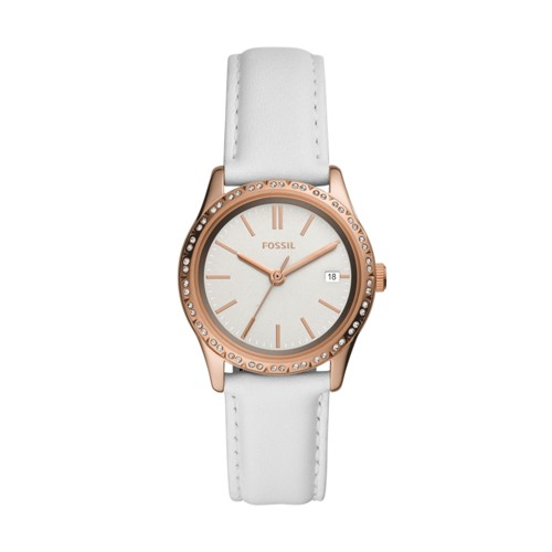 fossil Adalyn Three-Hand White Leather Watch BQ3486