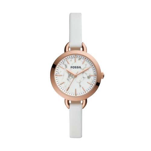 fossil Classic Minute Three-Hand White Leather Watch BQ3489