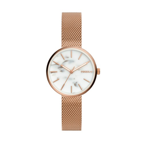 fossil Hutton Three-Hand Rose Gold-Tone Stainless Steel Watch BQ3491