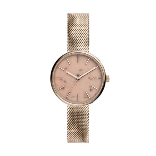 fossil Hutton Three-Hand Pastel Pink Stainless Steel Watch BQ3492