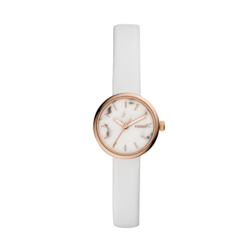 fossil Hutton Mini Three-Hand White Leather Watch BQ3495