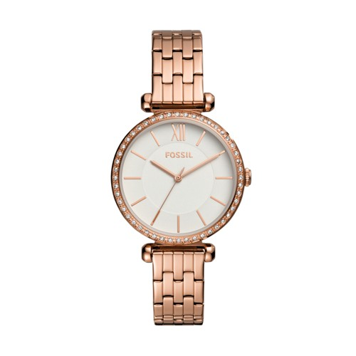 fossil Tillie Three-Hand Rose Gold-Tone Stainless Steel Watch BQ3497