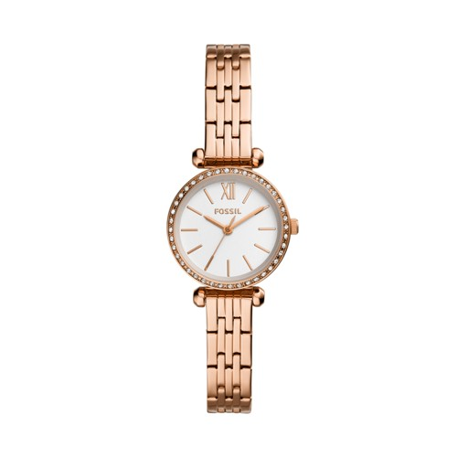 fossil Tillie Mini Three-Hand Rose Gold-Tone Stainless Steel Watch BQ3502