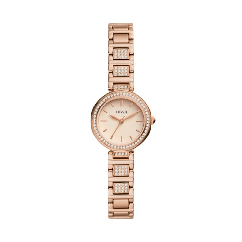 fossil Karli Mini Three-Hand Rose Gold-Tone Stainless Steel Watch BQ3517