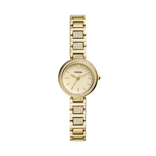 fossil Karli Mini Three-Hand Gold-Tone Stainless Steel Watch BQ3518