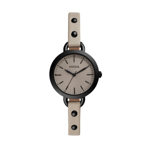 fossil Classic Minute Three-Hand Dark Beige Leather Watch BQ3528
