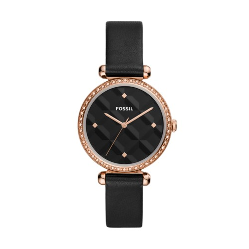 Tillie Three-Hand Black Leather Watch BQ3550
