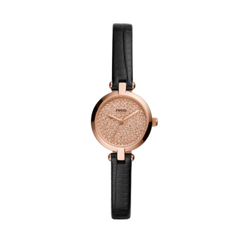 Kerrigan Mini Three-Hand Black Leather Watch BQ3562
