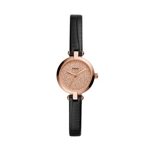 Fossil Kerrigan Mini Three-Hand Black Leather Watch  jewelry