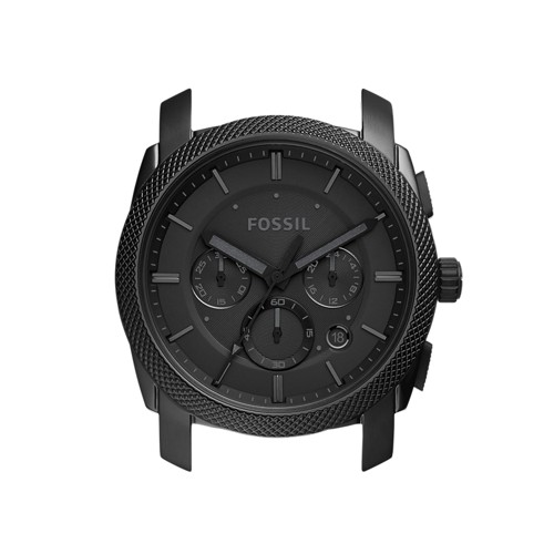 Fossil Machine Chronograph Black Stainless Steel Case  Jewelry